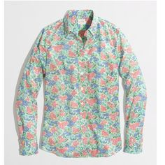 J. Crew classic button down in printed cotton EUC, like new condition. Maybe worn once. From factory store. J. Crew Tops Button Down Shirts