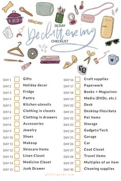 Glitter Guide's 30 Day Decluttering Checklist All You Need Is, Clutter Organization, Organisation Ideas, Home Binder, Household Chores, Declutter Your Home, Scrapbook, 30 Day, Diy Craft Projects