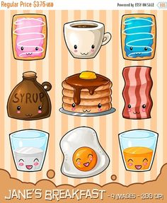 50% OFF Kawaii Breakfast Clipart  Hearty Breakfast by DigitalArtsi