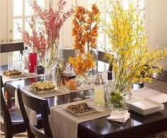 Ombré thanksgiving branches & 3 simple table runners.