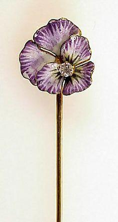 Beautiful Victorian Enameled 14K Gold Pansy Stick Pin