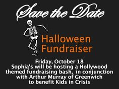 Save the date for our Halloween Fundraiser with Arthur Murray on Friday, October 18th! Visit us at sophiascostumes.com