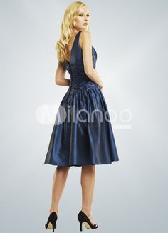V-Neck ruched Knee Length Taffeta Dress