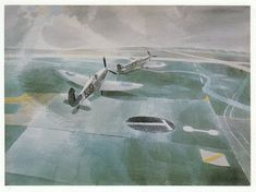 Spitfires on Runway, Eric Ravilious