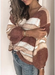 UniSweet Women's Long Sleeve Multicolor Stripe V Neck Sweater Color Block Pullover Top Loose Knit Sweaters, Casual Sweaters, Winter Sweaters, Women's Sweaters, Pullover Mode, Vogue Knitting, Color Block Sweater, Striped Knit, Sweater Fashion