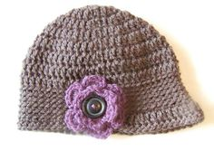 Crochet Brimmed Hat with Flower by TiffanyCrochet on Etsy, $20.00