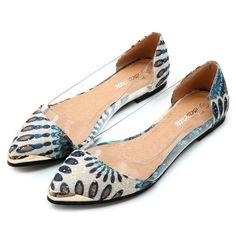 Beautiful Summer Women Metal Pointed Toe Flat Shoes Sexy Asymmetric Peacock Casual Flats