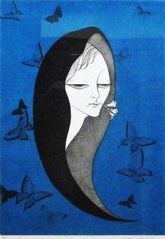 小林ドンゲ 『青い蝶』 191/200 直筆サインあり 大判 銅版画_ガラスに写りこみがあります