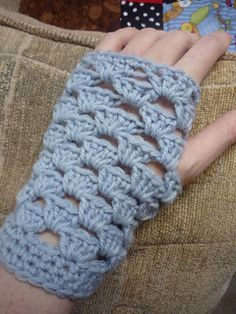 Granny Square Fingerless Mittens - free crochet pattern by Dena Stelly