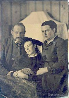 post-mortem photograph - parents with dead daughter