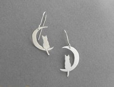 Silver Earrings  Cat on Crescent Moon by DaliaShamirJewelry, $65.00