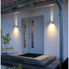 Exterior, Adorable Wall Lamp Side Unusual Door Closed Black Doormat On  White Floor Plus Green Tree And Electric Switch Right For Modern Outdoor  Lighting ... Part 43