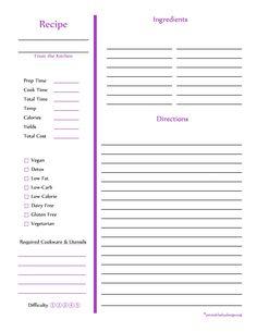 Purple Recipe Card - Full Page
