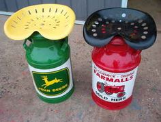 Rustic Tractor Seats on milk cans  | original ad can make other tractor color seat just name