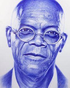Biro Art, Ballpoint Pen Art, Ballpoint Pen Drawing, Alucard, African Queen Tattoo, Pencil Drawings, Art Drawings, Africa Painting, Samuel Jackson