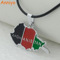 Anniyo Afghanistan Map and Flag Pendant With Black Rope Chain Afghan Jewelry for Women Men Girls #110001