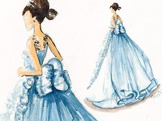 http://elainebiss.blogspot.com/2013/06/a-little-blue-watercolor-gown.html #fashion #watercolor #haute #couture #hautecouture #gown #dress #drawing #illustrator #illustration #croquis #sketch #art #fashionillustration #fashionillustrator #wedding #blue