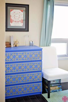 Customize your Ikea Rast dresser with decorative fretwork panels that allow you to create your own piece of customized furniture! Our Gigi Kit is the ikea furniture hack of choice for this piece and it looks awesome! Ikea Furniture Makeover, Ikea Furniture Hacks, Diy Furniture Easy, Furniture Decor, Ikea Hacks, Painted Furniture, Furniture Update, Furniture Projects, Ikea Rast Dresser