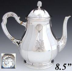 Elegant Antique French Sterling Silver 8.5 Coffee or Tea Pot, Seashells & Monogram`