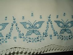 1930 to 1950 Vintage Embroidery Butterfly Pillowcase