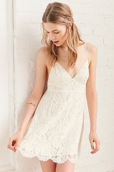 Kimchi Blue Valentina Empire Ivory Lace Mini Dress - Urban Outfitters