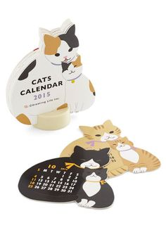 Year of the Critter 2015 Calendar in Cats. As long as this cute calendar is trained to sit at the edge of your desk, youll celebrate the passage of time with a smile! #multi #modcloth