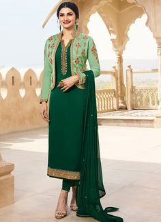 A Prachi Desai Green Chudidar Salwar Suit with Jacket. Georgette Satin top with Jacket and Santoon inner, Santoon Bottom comes along with Chiffon Dupatta. Original Company Product with the HIGH-QUALITY fabric material. Free Delivery in India. 1950s Fashion Dresses, High Fashion Dresses, 90s Fashion, Fall Fashion, Korean Fashion, Fashion Ideas, Fashion Tips, Suit With Jacket, Green Jacket