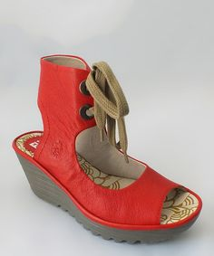 Look what I found on #zulily! Devil Red Mousse Leather Yaffa Wedge by FLY London #zulilyfinds