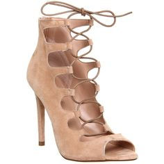 Office Parisian Lace Up High Heel Sandals ($115) ❤ liked on Polyvore featuring shoes, sandals, heels, high heels, scarpe, nude kid suede, women, lace-up heel sandals, lace up high heel sandals and stilettos shoes
