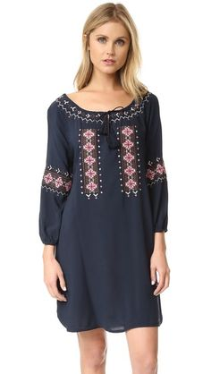 cupcakes and cashmere Teddy Embroidered Long Sleeve Dress on shopbop.com