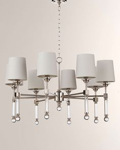 Regina Andrew Design Crystal Tail Chandelier Large in Natural Brass Ceiling Fixtures, Ceiling Lights, Large Chandeliers, Polished Nickel, Chandelier Lighting, Decorating Your Home, Decorating Ideas, Bulb, Brass