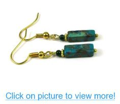 Turquoise Gemstone Column Dangle Earrings, Accented with a Green Pearl Bead