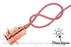 Sestavený set za zvýhodněnou cenu, měděná objímka kovová + kroužek s paticí E27 - 31 vzorů barevných textilních kabelů s opředením