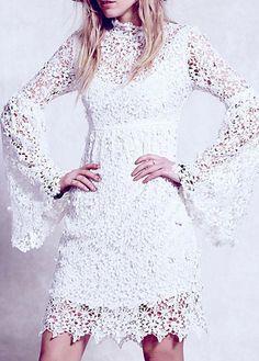 Long sleeve White Boho Lace Dress