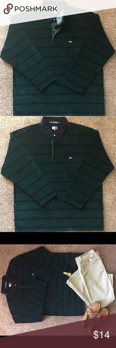Tommy Hilfiger Long Sleeve Polo Rugby Shirt Vntg. Modern Vintage Long Sleeve Rugby Style Polo Shirt by Tommy Hilfiger •cotton blend •very nice •very small snag underneath left side of collar •smoke-free, pet-free 💰Bundle and save💰 Tommy Hilfiger Shirts Polos