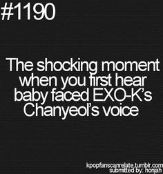 The shocking moment when you first hear baby faces EXO-K's Chanyeol's voice and V and Suga from BTS :P // I can relate to this. First time I saw Chanyeol I was not expecting his voice to be that low.He has an awesome voice XD Chanyeol Baekhyun, Exo K, Shinee, Cnblue, Btob, Exo Facts, Baekyeol, Kim Minseok, Xiuchen