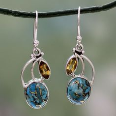 Handcrafted Sterling Silver Modern Mystique Citrine Turquoise Dangling Style Earrings (India)