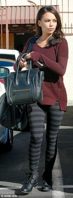 PLL actress Janel Parrish wearing striped leggings