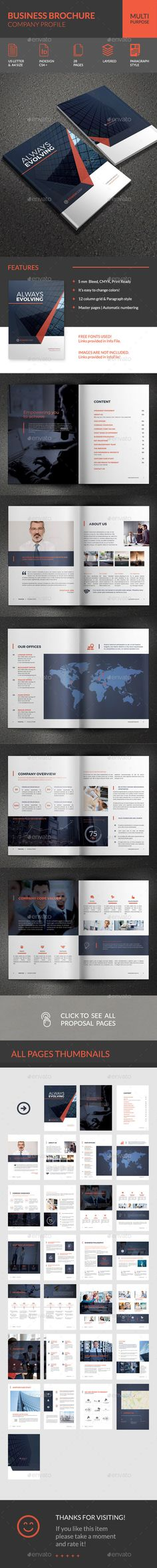 Company Profile Business Brochure Template InDesign INDD. Download here: http://graphicriver.net/item/business-brochure-company-profile/14627559?ref=ksioks