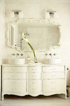 Looks like I'll be shopping for old dressers/ cabinets.....Luv'n these bathrooms for the cottage