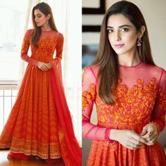 Maya Ali looks radiant as ever in this bold orange number by Nomi Ansari🧡🧡 Indian Wedding Gowns, Indian Gowns Dresses, Pakistani Bridal Wear, Pakistani Dresses, Bridal Dresses, Party Dresses, Lehenga Designs, Frock Design, Indian Attire