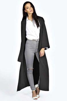 Ciara Wide Sleeve Notch Front Duster Coat at boohoo.com