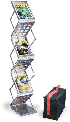 6-Pocket Portable Literature Floor Stand with Case, 2-Sided, Open Shelves - Silver