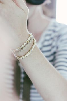 Love these DIY bracelets. Pic is from fellowfellow.com. DIY link is http://honestlywtf.com/diy/diy-beaded-bracelet/