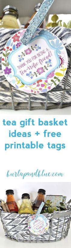 tea gift basket ideas + free printable gift tags!  #TeaStraightUp #ad
