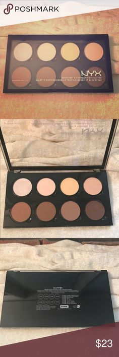 NYX Highlight & Contour Pro Palette Brand New only swatched a few shades. This is a gorgeous & very talked about palette. It has lots of different contour & Highlight shades going on 😍 NYX Makeup Bronzer