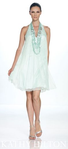 H21005  Crinkle silk chiffon halter necklace cocktail dress