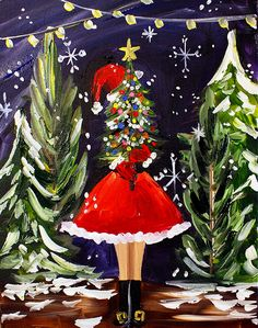 Christmas Girl painting by Timree #artist #timree #christmas