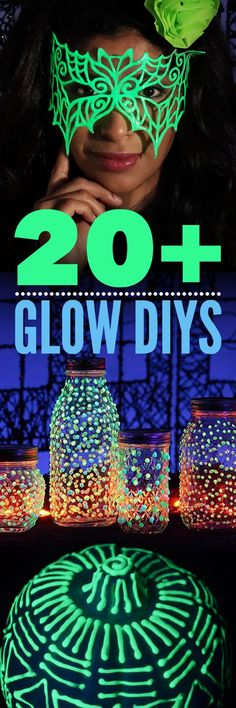 Make your Halloween EPIC with a glow-in-the-dark DIY. Glow is the perfect addition to your décor and costumes! Create these looks using Tulip Dimensional Fabric Paint a. Glow jars for Nana eating table. Glow Stick Jars, Glow Sticks, Glow Jars, Halloween Crafts, Halloween Party, Halloween Images, Glow Paint, Blacklight Party, Puffy Paint