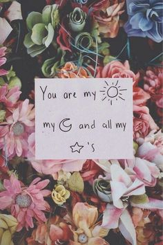 You are my sun moon and all my stars text pink floral note wallpaper background lockscreen girly iPhone iPod android